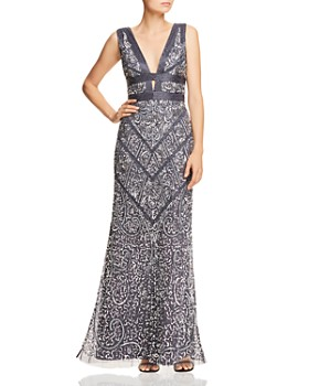 Aidan Mattox - Embellished Plunging Gown