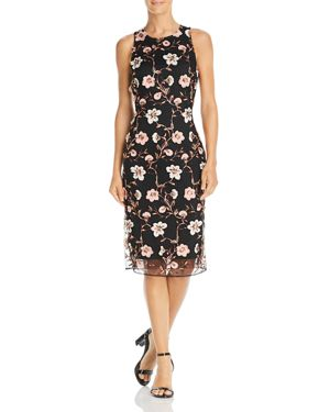 LAUNDRY BY SHELLI SEGAL Floral Embroidered Mesh Sheath Dress in Black Pattern