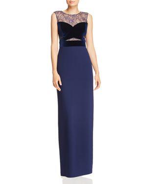 Aidan by Aidan Mattox Lace & Velvet Bustier Column Gown - 100% Exclusive