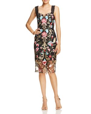 BRONX AND BANCO Agata Embroidered Cocktail Dress in Black