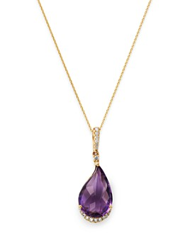 "Bloomingdale's - Amethyst & Diamond Pendant Necklace in 14K Yellow Gold, 18"" - 100% Exclusive"