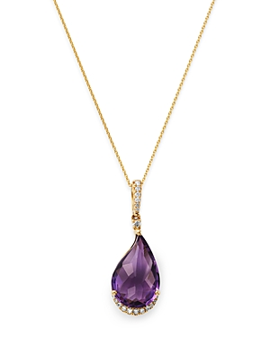 Bloomingdale's Amethyst & Diamond Pendant Necklace in 14K Yellow Gold, 18 - 100% Exclusive