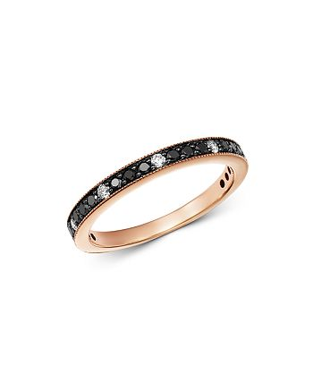 Bloomingdale's - Black & White Diamond Stacking Band in 14K Rose Gold - 100% Exclusive
