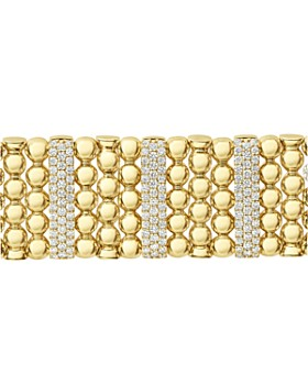 LAGOS - 18K Yellow Gold Caviar Gold Five Station Pavé Diamond Statement Bracelet