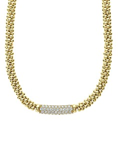"LAGOS - 18K Yellow Gold Caviar Gold Pavé Diamond Necklace, 16"""