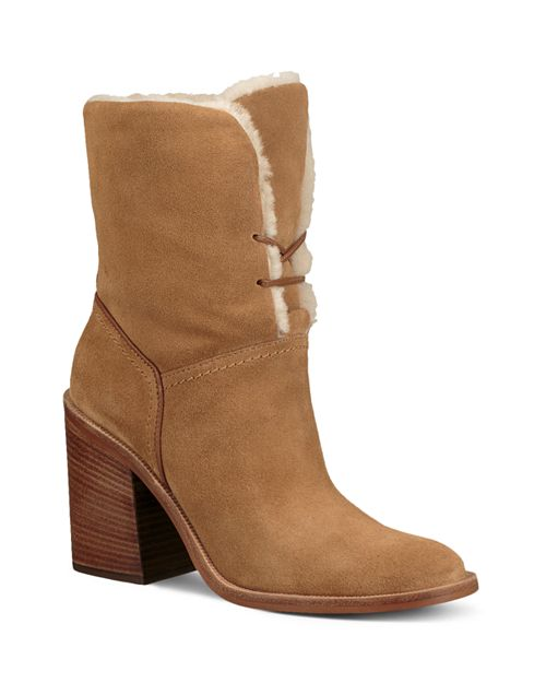 UGG® Women's Jerene Round Toe Suede & Sheepskin High-Heel Booties | Bloomingdale's
