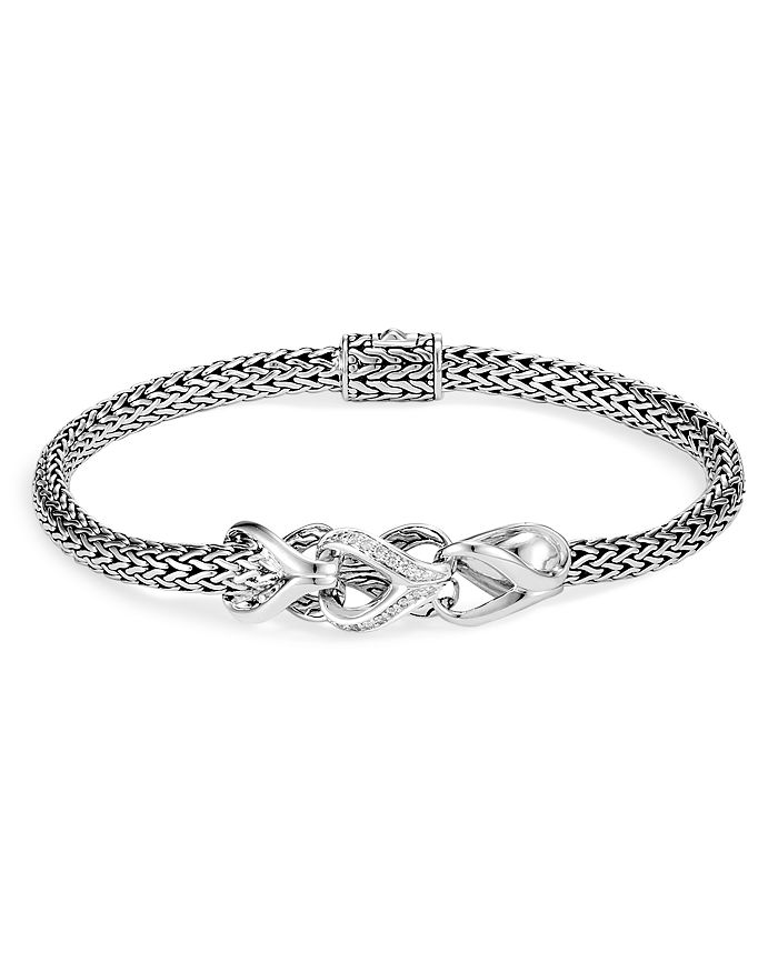 John Hardy Sterling Silver Classic Chain Pave Diamond Slim Bracelet In White/Silver
