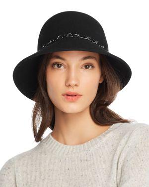 AUGUST HAT COMPANY Feelin It Chain-Trim Wool Cloche in Black