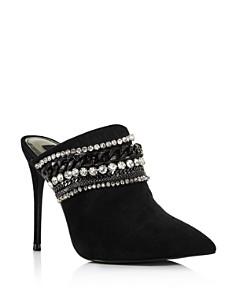AQUA - Women's Dare Embellished Suede High-Heel Mules