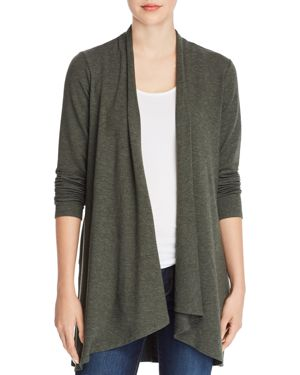 CUPIO Heathered Open Cardigan in Deep Forest Heather
