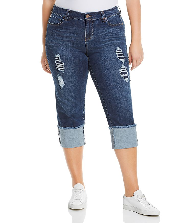 Liverpool Plus - Wide-Cuff Cropped Jeans in Chapman Wash