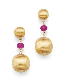 Marco Bicego - 18K Yellow Gold Africa Precious Ruby Drop Earrings