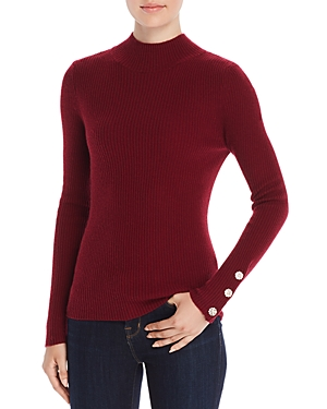 Badgley Mischka Ribbed Mock-Neck Cashmere Sweater