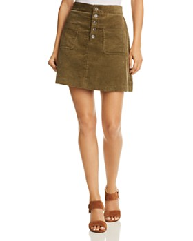 Lost and Wander - Alicia Button-Detail Corduroy Mini Skirt - 100% Exclusive