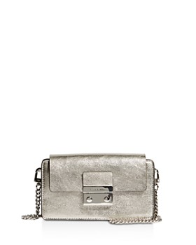 KAREN MILLEN - Medium Metallic Leather Box Crossbody