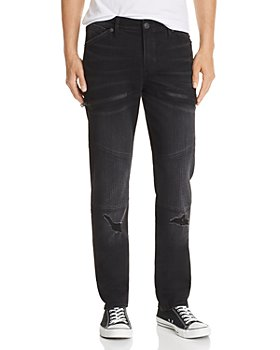 True Religion - Rocco Skinny Fit Moto Jeans in Coal Mine