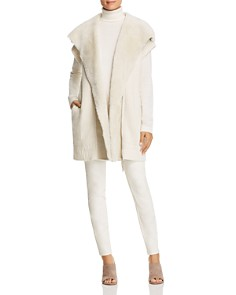 Lafayette 148 New York - Shearling Collar Ribbed Cashmere Vest