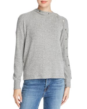 RED HAUTE Snap Detail Sweater in Heather Gray