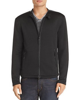 John Varvatos Star USA - Leather-Trimmed French Terry Jacket