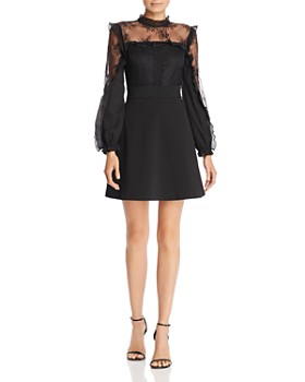 AQUA - Lace Inset Ruffle Dress - 100% Exclusive