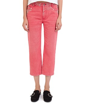The Kooples - Studded Cropped Jeans in Red Washed