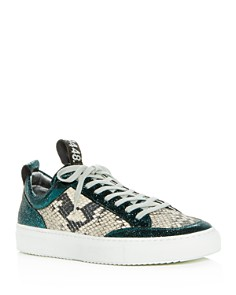P448 - Women's Soho Crackled & Snake-Embossed Leather Lace-Up Sneakers