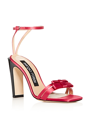 Sergio Rossi Women's Satin Bow Ankle Strap High-Heel Sandals