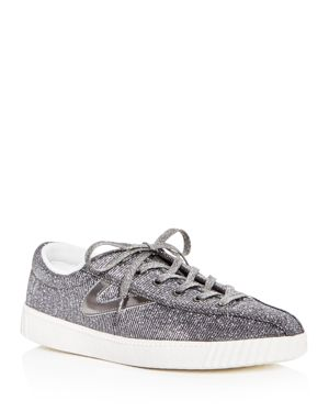 Women'S Nylite Plus Glitter Lace Up Sneakers, Pewter/ Pewter