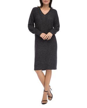 B COLLECTION BY BOBEAU B Collection By Bobeau Janice V-Neck Knit Dress in Raven Black Mix