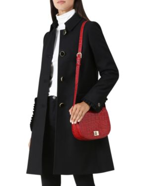 Ophelia Ruffle-Trim Coat in Black