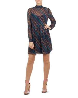Colour By Numbers Allyy Heart-Print Mini Dress, Navy