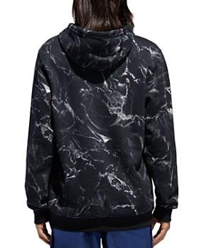 adidas Originals - Marble-Print Hooded Logo-Print Sweatshirt