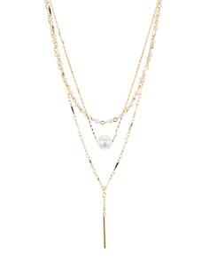 "Rebecca Minkoff - Solo Simulated Pearl Layered Necklace, 18"""