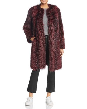 MAXIMILIAN FURS Feathered Fox Fur Coat With Leather Trim - 100% Exclusive in Rosa Roset