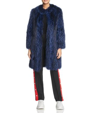 MAXIMILIAN FURS Feathered Fox Fur Coat With Leather Trim - 100% Exclusive in Shock Blue