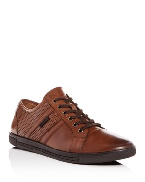 KENNETH COLE Men'S Initial Step Leather Lace Up Sneakers in Cognac