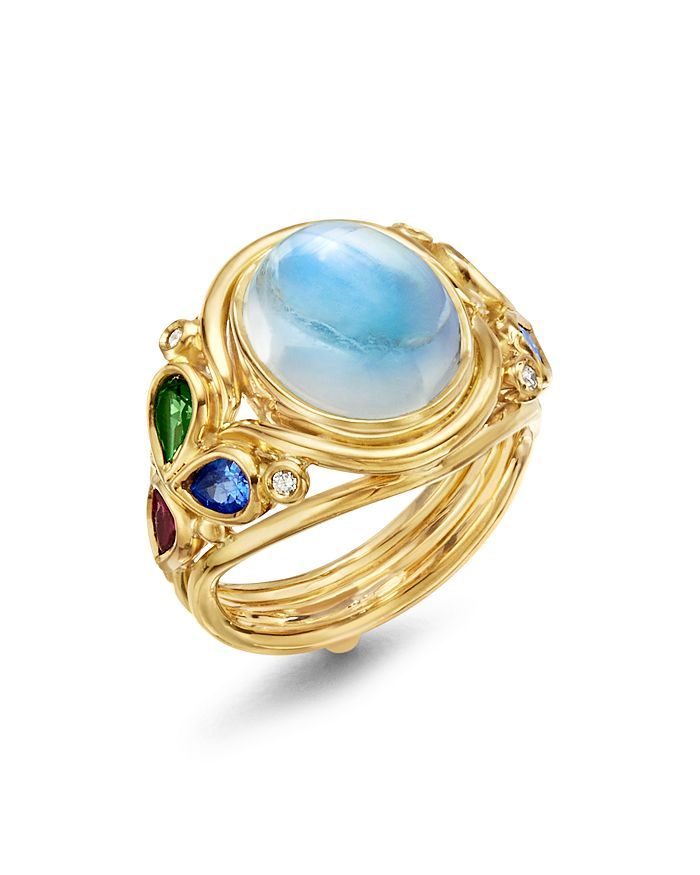 Temple St. Clair - 18K Yellow Gold Classic Oasis Moonstone, Diamond & Multi Gemstone Ring