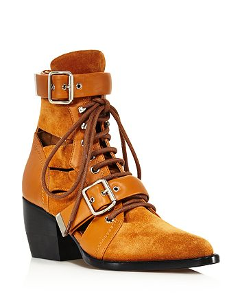 Chlo eacute  - Women s Rylee Suede   Leather Open-Toe Lace Up Booties b2784330a8