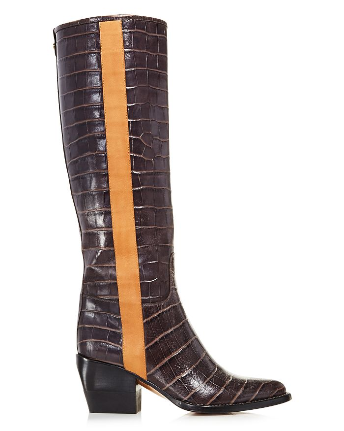 57c4830c386 Chloé - Women s Vinny Croc-Embossed Leather Tall Boots