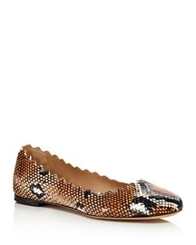 Chloé - Women's Lauren Snakeskin-Embossed Leather Ballerina Flats