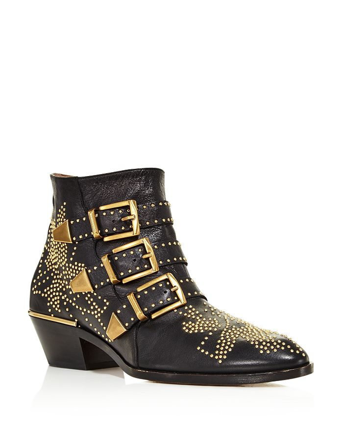 Chloé - Women's Susanna Pointed Toe Studded Leather Booties