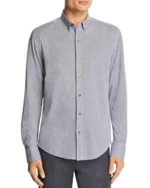 WRK Reworked Honeycomb-Print Slim Fit Button-Down Shirt in White/Gray