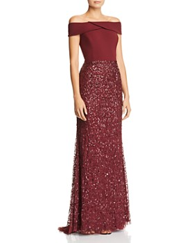 Adrianna Papell - Embellished Off-the-Shoulder Gown