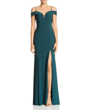Avery G Cold-Shoulder Gown
