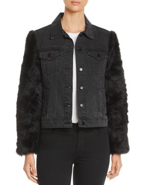 VELVET HEART Mona Faux-Fur-Sleeve Denim Jacket in Black Faux Fur/Stone