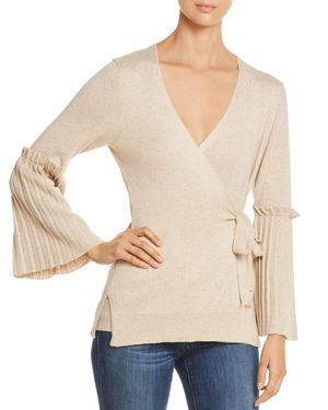 HEATHER B V-Neck Bell-Sleeve Sweater in Heather Oatmeal