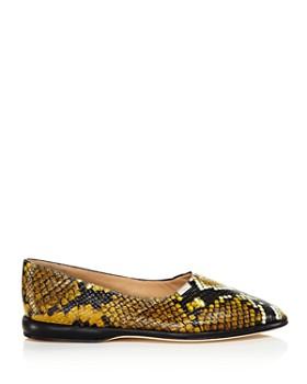 Chloé - Women's Skye Round Toe Snakeskin-Embossed Leather Flats