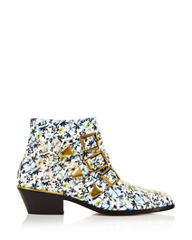Chloé - Women's Susan Pointed Toe Studded Leather Booties