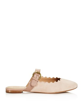 Chloé - Women's Lauren Round Toe Suede & Leather Ballerina Flats