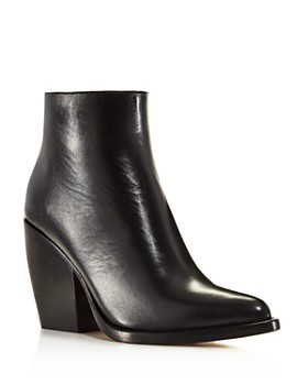 Chloé - Women's Rylee Pointed Toe Leather Block Heel Booties